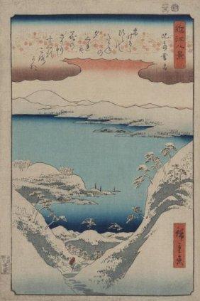 Ando Hiroshige - Evening Snow At Hira