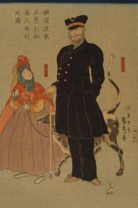 Sadahide Utagawa - American Merchant Strolling In