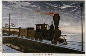 Kobayashi Kiyochika - A Steam Locomotive In Hazy