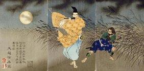 Tsukioka Yoshitoshi - Playing The Flute By Moonlight