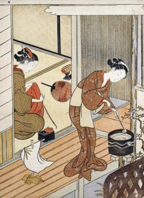 Suzuki Harunobu - Returning Sails Of The Towel Rack