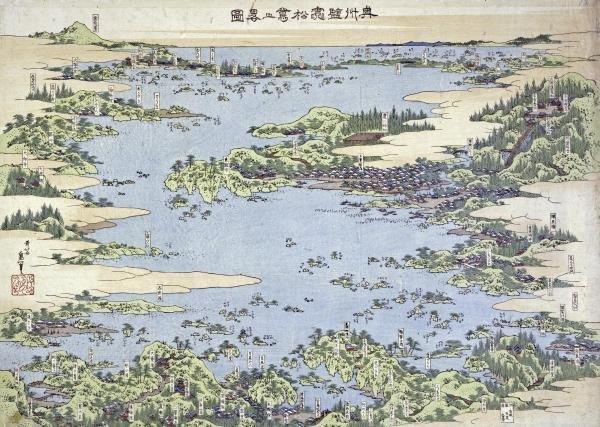 Hokusai - Map Of Shiogama And Matsushima In Oshu