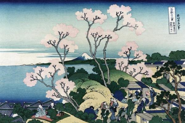 Hokusai - Goten-yama-hill. Shinagawa On The Tokaido