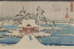 Ando Hiroshige - Snow Scene Of Benzaiten Shrine In