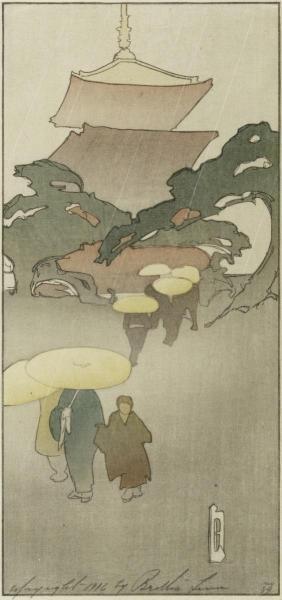 Bertha Lum - Temple In Rain, 1916