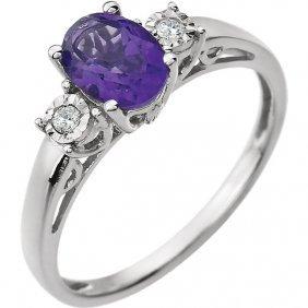 14kt White Amethyst & .04 Ctw Diamond Ring