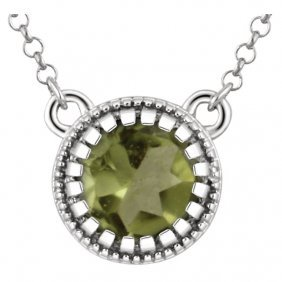 14kt White Peridot August 18 Birthstone Necklace