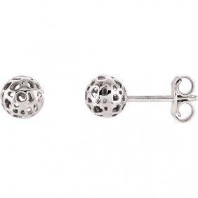 14kt White Ball Earrings