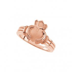 14kt Rose Gents Claddagh Ring