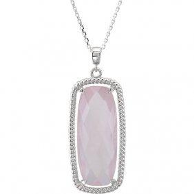 Sterling Silver Rose De Quartz 18 Necklace
