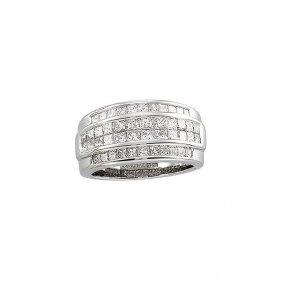 14kt White 2 Ctw Diamond Invisible Set Ring Size 9