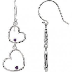 Amethyst Double Heart Dangle Earrings