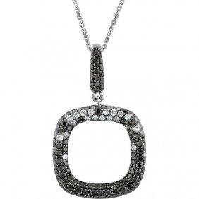14kt White 1 Ctw Black & White Diamond 18 Necklace