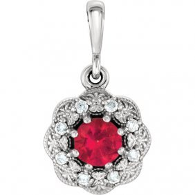 14kt White Ruby & .06 Ctw Diamond Pendant