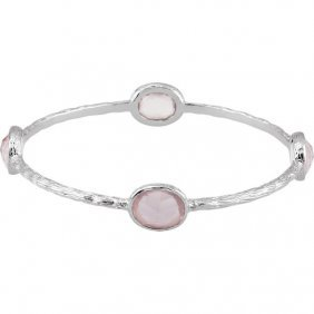 Sterling Silver Pink Quartz 8 Bangle Bracelet