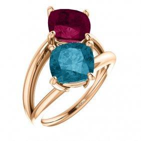 14kt Rose London Blue Topaz & Rhodolite Garnet Ring