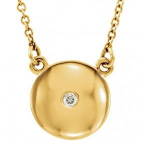14kt Yellow .02 Ctw Diamond Domed 16.5 Necklace