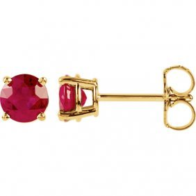 14kt Yellow 5mm Round Ruby Earrings