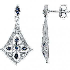 Sterling Silver Sapphire & 1/4 Ctw Diamond Earrings
