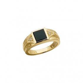 Men's Onyx & Diamond Accented Ring