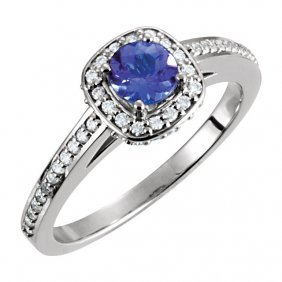 14kt White Tanzanite & 1/3 Ctw Diamond Engagement Ring