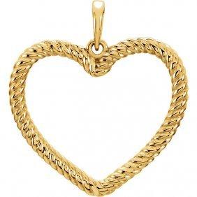 14kt Yellow Rope Heart Pendant