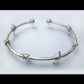 Sterling Silver Barbed Wire Cuff Bracelet
