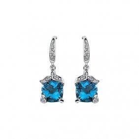 14kt White Swiss Blue Topaz & .06 Ctw Diamond Earrings