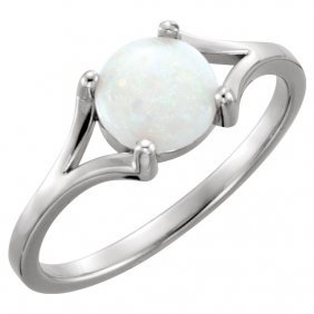 14kt White 8mm Round Opal Cabochon Ring