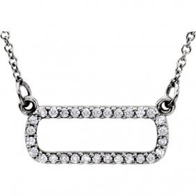 14kt White 1/6 Ctw Diamond Soft Rectangle 16 Necklace