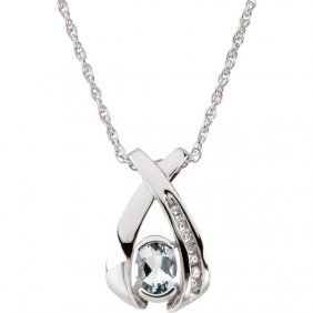 14kt White 7x5 Oval Aqua & .08 Ctw Diamond 18 Necklace