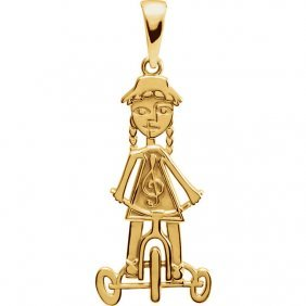 14kt Yellow Little Red Tricycle Pendant