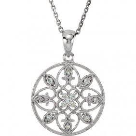 14kt White 1/8 Ctw Diamond Filigree 18 Necklace