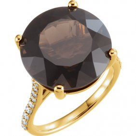 14kt Yellow Smoky Quartz & 1/4 Ctw Accented Diamond