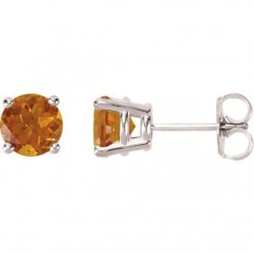 14kt White 6mm Round Citrine Friction Post Stud