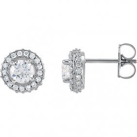 Platinum 1 Ctw Diamond Entourage Earrings