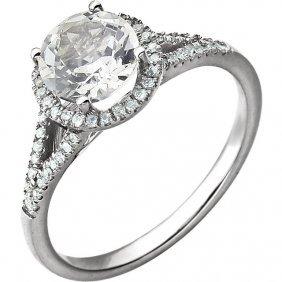 14kt White Created White Sapphire & 1/5 Ctw Diamond