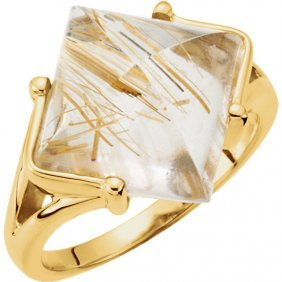 18kt Yellow Rutilated Quartz Ring