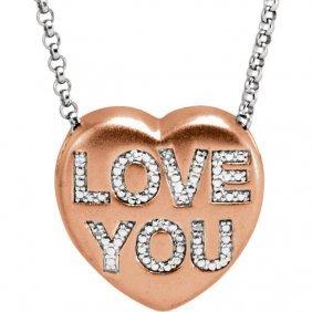 .02 Ctw Diamond Love You Heart Necklace