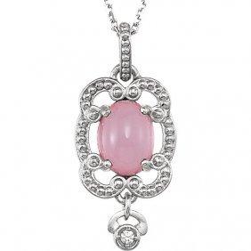 Sterling Silver Lavendar Chalcedony & .015 Ctw Diamond