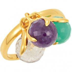 18kt Yellow Vermeil Multi-gemstone Ring Size 6