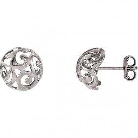 14kt White Swirl Earrings
