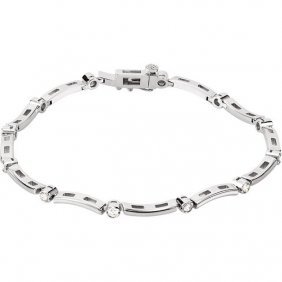 14kt White .50 Ctw Diamond Line Bracelet