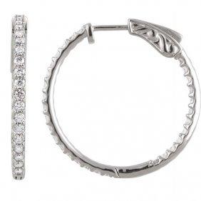 Platinum 1 Ctw Diamond Inside/outside Hoop Earrings