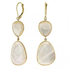 14kty Earrings White Shell