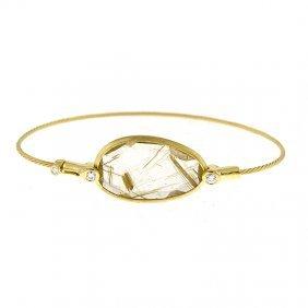 14kt Y Bracelet Gold Rutile
