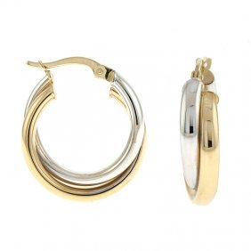 14kt White/yellow Double Hoop