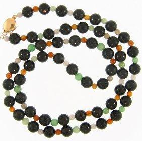Natural Black Multi-color Jade Necklace
