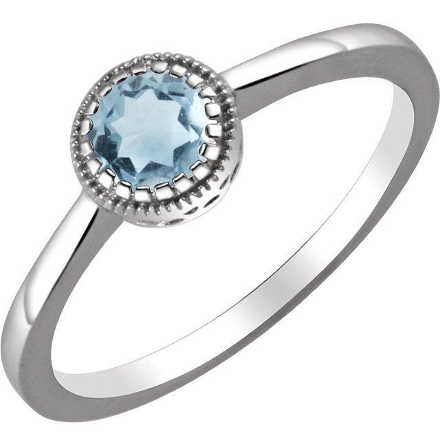 14kt White Aquamarine  March  Birthstone Ring