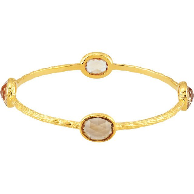 Gold Plated Sterling Silver Yellow Quartz 8  Bangle